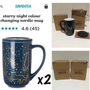 🆕DAVIDS TEA - 2PC NIB - CAT STARRY NIGHT MUGS